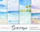 Summer paper pack. Summer digital paper. Water texture. Ocean digital paper. Sea background. Sea paper pack. Water digital. Water papers
