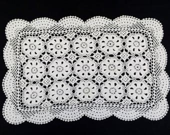 Crocheted Small Table Runner or Placemat. Vintage White Crocheted Oblong Lace Doily/Placemat or Small Table Runner RBT2098