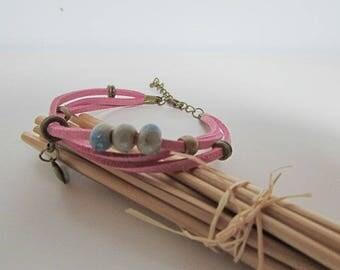 Ultrasuede pink ceramic bronze clasp hook chain Bracelet Kit - 181