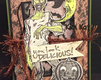 Zombie Card Pop Up Retro Halloween You Look Delicious 3D Zombies AX Stampin Up OOAK Mixed Media Handmade