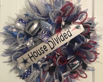 Cowboys/Patriots House Divided wreath