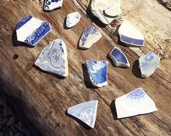 Blue Sea Pottery, Blue Beach Pottery, Scottish Sea Pottery, Sea Pottery Pieces, Sea Pottery Shards, Pendant Supplies, Jewelry Making