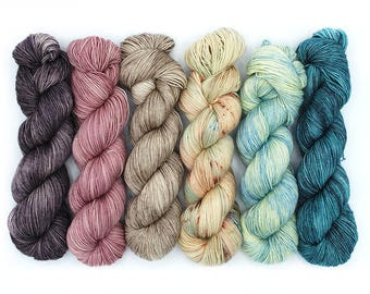 PREORDER Find Your Fade Kit - Wine by the Sea - 75/25 Sock - Hand Dyed Sock Merino Wool Yarn - Fingering Weight - Tonal Speckled Variegated