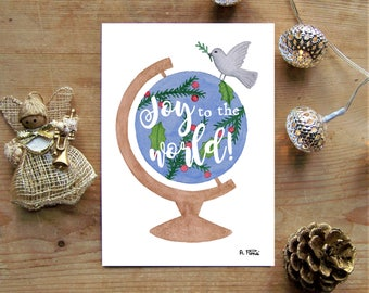 Christmas Card - 'Joy to the World' (Watercolour illustration with calligraphy and hand lettering)