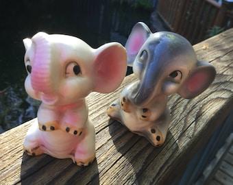 Pink and grey Elephant figurines Japan