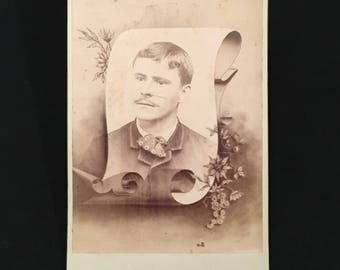 Memorial Cabinet Card of a Young Man, 19th Century Antique Photograph