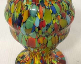 Beautiful vintage multi coloured glass vase / top quality