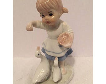 Vintage Girl Figurine with Ducks
