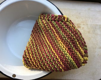 100% Cotton Handmade Knitted Dishcloth or Dish Rag, Autumn Colors, Autumn Leaves, Rustic Fall Kitchen Decor