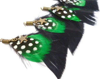 "Black /Green Feathers Charm_ PA002136864/6251_Feathers_ Black/Green/ point _ of 60/ 70 mm /2,75"" _ pack 2 pcs"