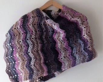 One-shoulder wool poncho, wool shoulder poncho, wool shawls, wool shawl, crochet poncho, handmade poncho, crochet poncho