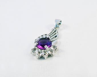 PU25 - pendant plated 925 Sterling Silver with Crystal rhinestones and cubic zirconia purple Angel Wings charm