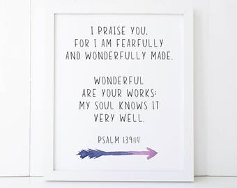 Fearfully and Wonderfully Made Scripture Printable Wall Art 8x10, 5x7, 11x14, Psalm 139:14, Scripture Print, Bible Verse Print, Sign