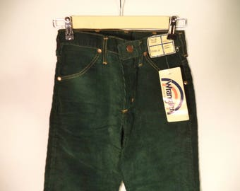 70s Wranger corduroy hippie Deadstock new with tags pants// USA made hunter green student straight skinny leg NWT// Child kid unisex 25 W