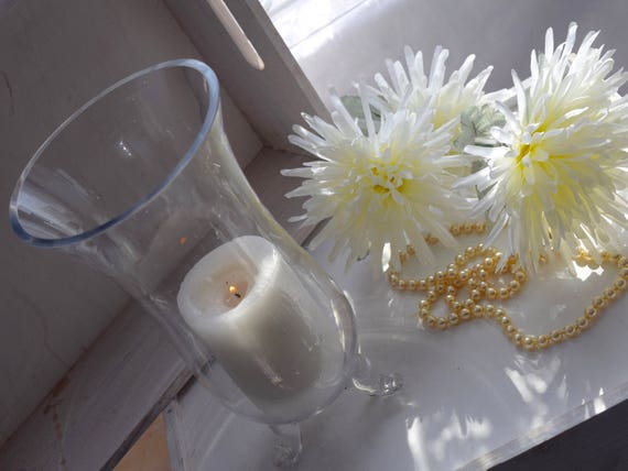Tall, Cut Glass, Three Footed Hurricane container, 10 inch, Wedding Center Piece, Candle Holder or Vase,
