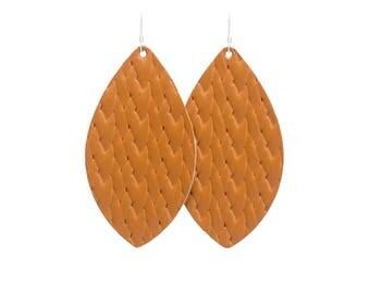 Braided Cognac Leather Earrings, leather earrings, statement earrings, big earrings, teardrop earrings, brinleyandco, brinley and co