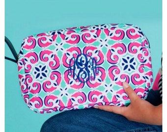 LARGE COSMETIC BAG- Personalization, Monogrammed Cosmetic Bag- Large Accessory Bag, Bridesmaid Gift, Make-up bag, Cosmetic Bag, Mia Tile