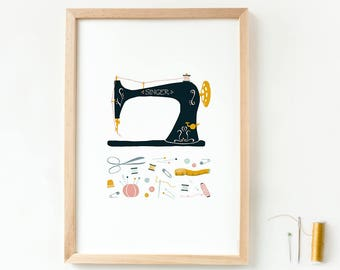 A4 print vintage sewing machine, sewing poster, wall art sewing room, sewing wall decoration, sewing gift, craft room wall decor, gift women