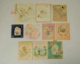 Lot of 10 Used Welcome Baby Girl Boy Infant Greeting Cards 1950s Paper Ephemera Nursery Decor Baby Shower Decor Crafting Paper Supply