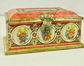 James P Linette Treasure Chest Red Gold Antique Tin Trinket Box Lidded West Germany French Country Shabby Bath Vanity Dressing Table