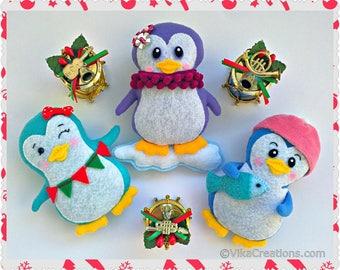 Set of Three Hanging Penguin Ornaments, Handmade Felt Christmas Tree Ornament, Xmas Home and Holiday Decor, Felt Animals