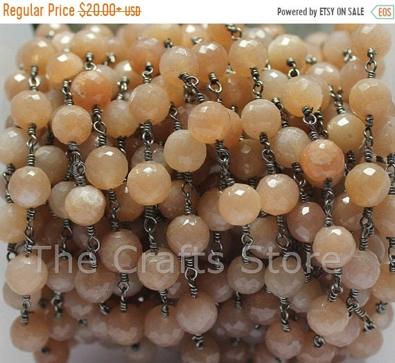 Flat 50 Off Round Natural Peach Moonstone Wire Wrapped