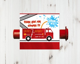 Firetruck Party Favor Candy Wrap, Fire Truck Kids Birthday Thank You