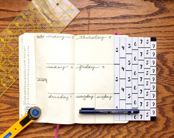 Rows and Columns Tracing Card - Bullet Journaling Template Tracing Card for Moleskine