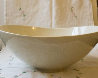 Enormous Vintage Red Wing USA Pottery Futura Mid Century Modern Earth Tone Speckled Free Form Bowl