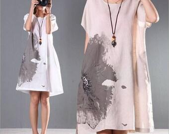 Loose printed linen dress,womens casual summer dress, plus size clothing linen clothing midi dress asymmetrical tunic dress
