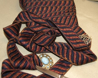 12yards of medieval fashion dark blue&red ribbon weaved with gold, costume trim