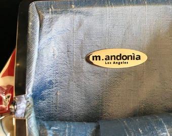 Brand new dead-stock M.Andonia handbag shoulder bag coated vintage fabric Swarovski crystal denim handle face butterflies hippie silk