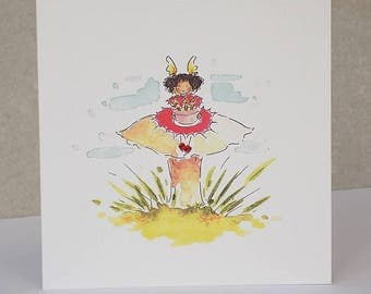 Fairy Card, Fairy Toadstool Birthday card, faerie card