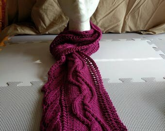Meandering Cable Leaf Scarf