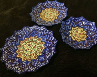 3 x Decorative Plates, Minakari, Handmade and Handpainted Copper Enamel