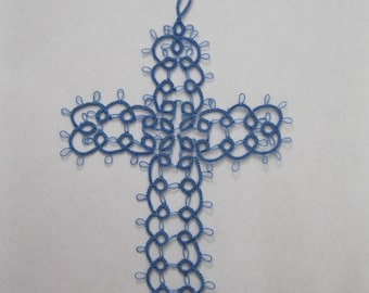New Handmade Blue Tatted Lace Bible Cross Bookmarker