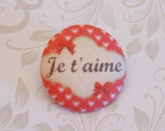 x 1 19mm fabric button I love you more A25