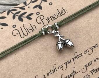 Acorn Wish Bracelet, Make a Wish Bracelet, Wish Bracelet, Friendship Bracelet, Acorn Bracelet, Woodland Bracelet, Gift for Her, Favour gift