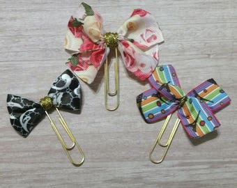 Bow paperclip set, Paper clip set of 3, Paperclip bookmarks, Ribbon paperclip set, paperclips for planners, gold paperclips