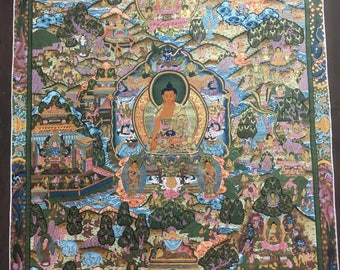 Thangka Hand made story of Buddha Life. Nepal, buddhism