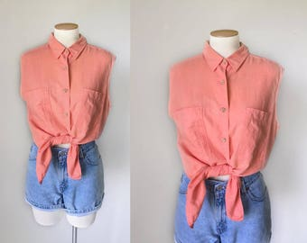 1990s minimalist peach pink linen sleeveless button down shirt by Giorgio Sant Angelo / 90s tie front summer top blouse / medium M large L