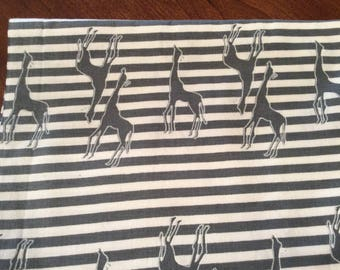 "34"" grey/white striped fabric with grey giraffes"