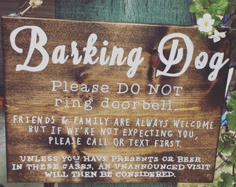 Barking Dog & Beer Lovers - Hanging Front Door Sign - CUSTOMIZABLE.