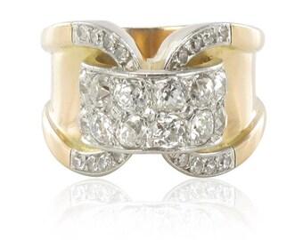 Bague Tank or rose diamants