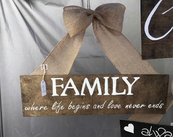 Family, where life begins and love never ends. Wood sign.