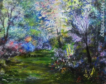 A magic glade of desires .. Large Oil Painting on Canvas by Volodymyr Myriyevskyy  - Size: 20'' x 24'' (50cm x 60cm)