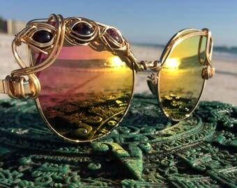GOLD Cat Eye Reflective Womens Sunglasses, AMETHYST Wire Wrap Sunglasses, New UV400 Retro Eyewear Sunglasses , Every pair is a piece of art