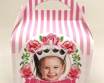 Pretty Princess Photo Box Personalised Children's Party Box Gift Bag Favour