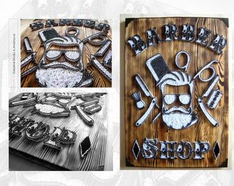 Barber Signs, Barber Shop Decor ,Barber Shop Sign, Barbers Wood Signs, Barbershop Ideas, String Art Barbershop, Interior Barbershop Decor
