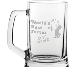 Best FARTER oops FATHER Engraved Glass Beer Tankard Name Engraved FREE